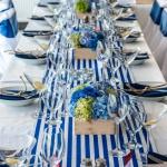 modro bílá výzdoba, hortenzie